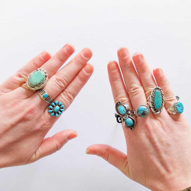Native American Turquoise Ring, Sizes 8-9
