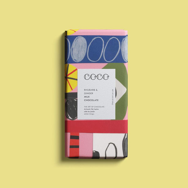 Coco Rhubarb & Ginger Milk Chocolate bar.