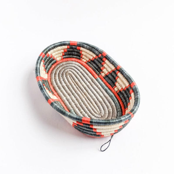 Oval Basket in Grey and Orange