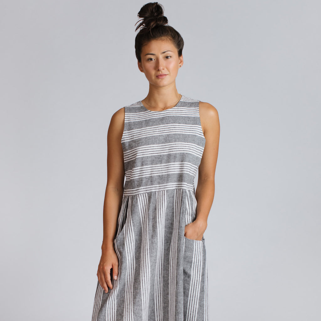 Perpignan Dress in Grey Stripe
