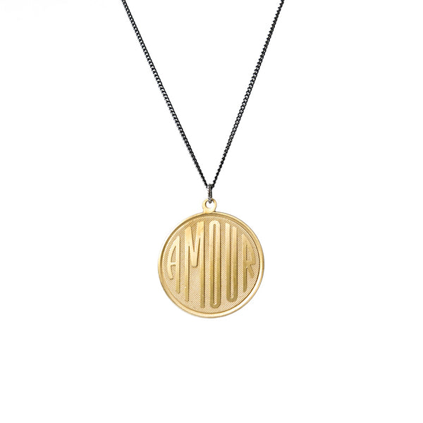 betsy & iya Big Amour necklace with non-oxidized finish.