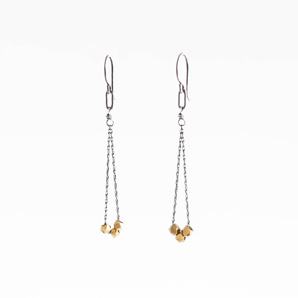 Amy Olson Triple Brass Nugget Dangly Earrings