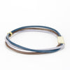 The blue version of the 3 strand leather bangle.