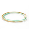 The mint, sea-Foam, natural neutral colored leather bangle combo.