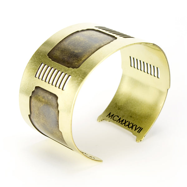 Side view of the Golden Gate cuff bracelet by betsy and iya.
