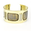 Front view of the brass Golden Gate cuff bracelet.