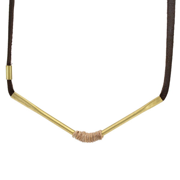 betsy & iya Autumn in the Park necklace with chevron brass and leather wrap.