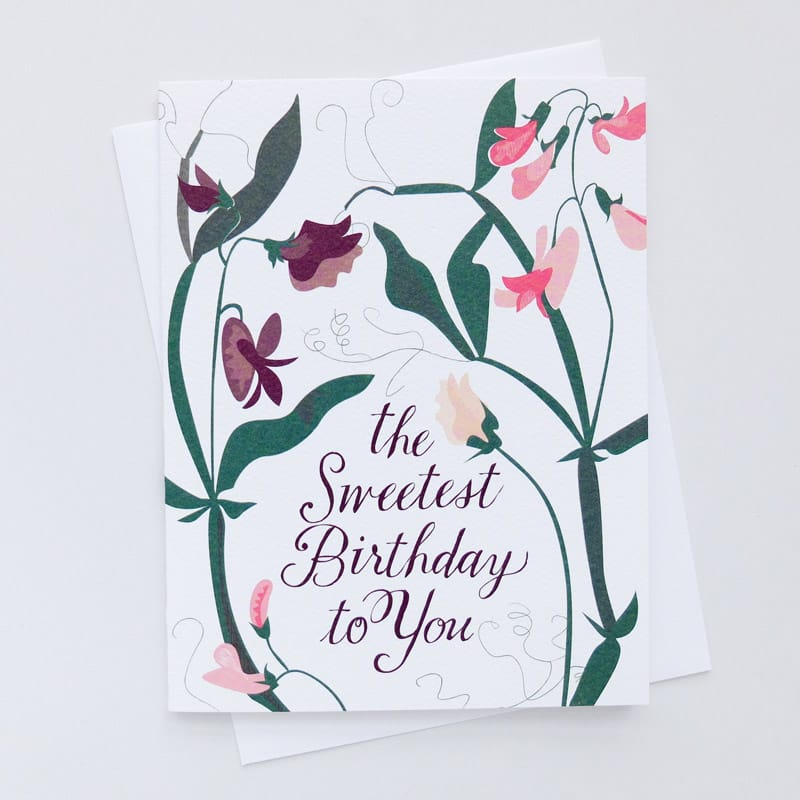 """Sweetest Birthday"" Sweet Peas Card"