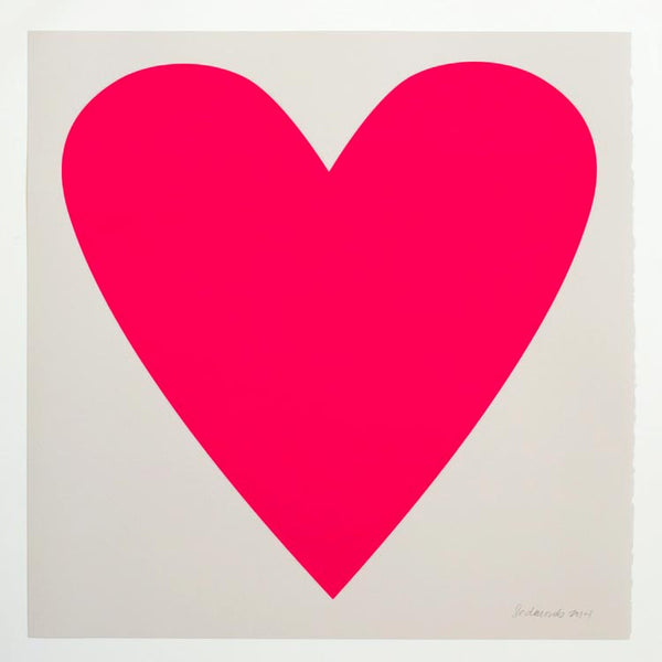 bright neon pink square heart poster