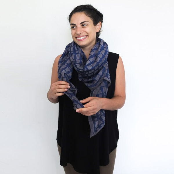 Bloom & Give Bari Navy Silk Cotton Scarf