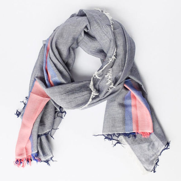 Bloom & Give Tres Cotton Scarf Blue handcrafted in India