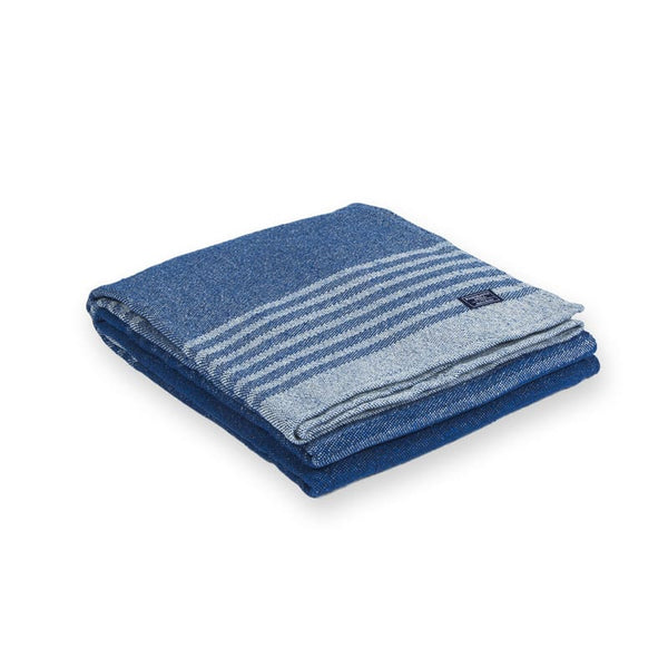 Faribault Blue Linear Stripe Cotton Throw