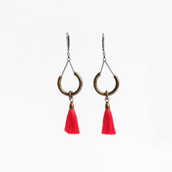 Boet Jewelry Duster Earrings Bright Red