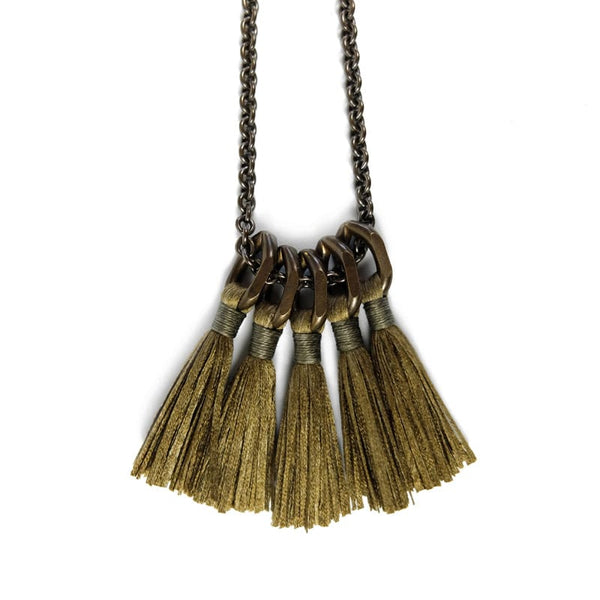 Boet Jewelry Silk Tassel Necklace in Bronze