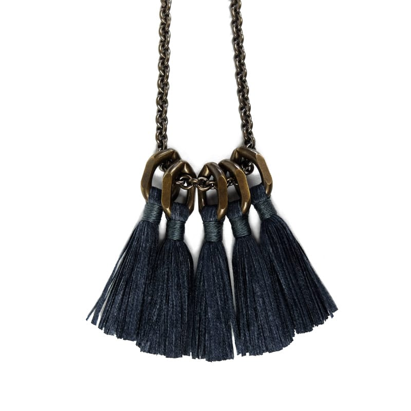 Silk Tassel Necklace - Charcoal