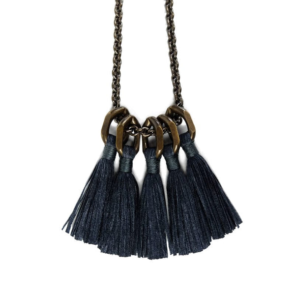 Boet Jewelry Silk Tassel Necklace in Charcoal