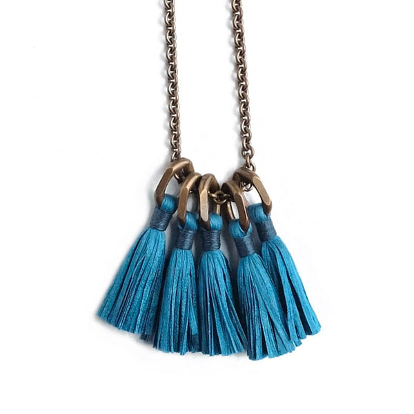 Boet Jewelry Silk Tassel Necklace in Ocean