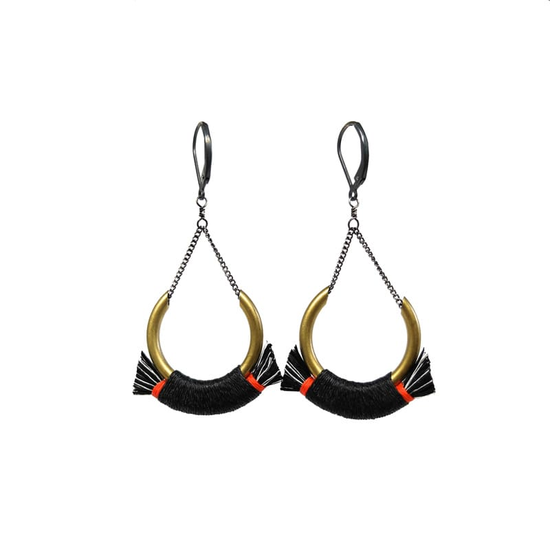 Small Crest Earrings - Black/Red