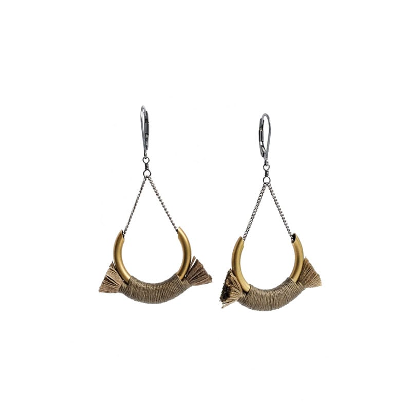 Small Crest Earrings - Champagne