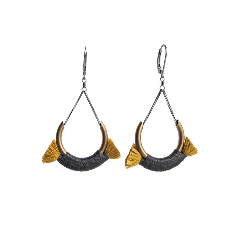 Small Crest Earrings - Gold/Grey