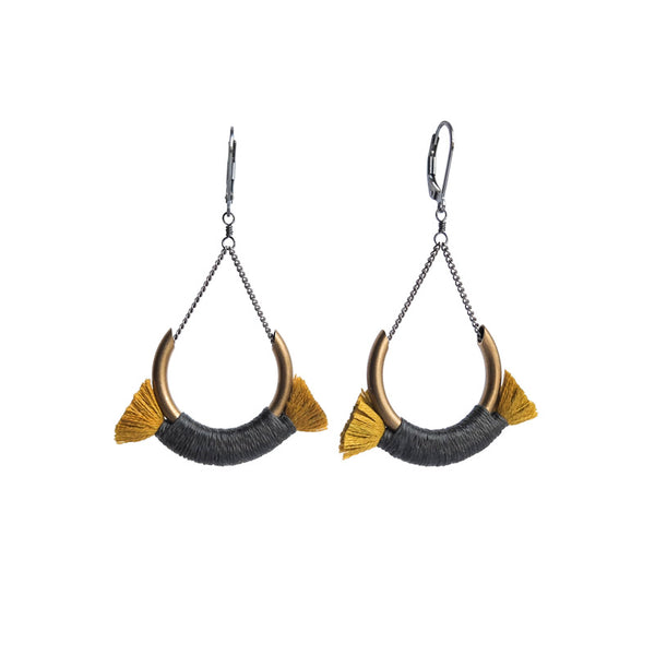 Boet Jewelry Small Crest Earrings Grey/Gold