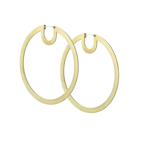 Bombona Large Hoop Earrings in Brass side view