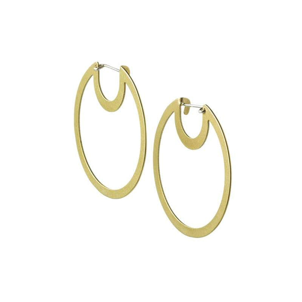 Bombona Small Hoop Earrings in brass side view