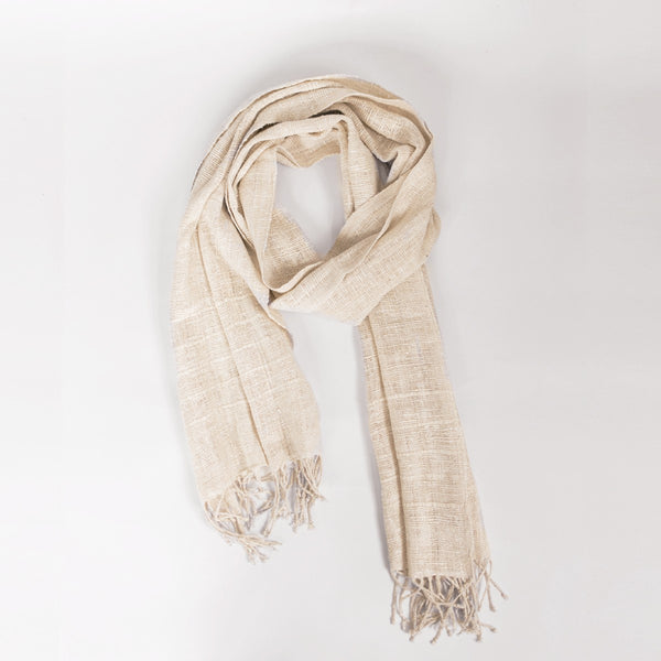 "Eri Silk Scarf in Cream. 100% Ethiopian Eri silk. Measures 72""x16""."