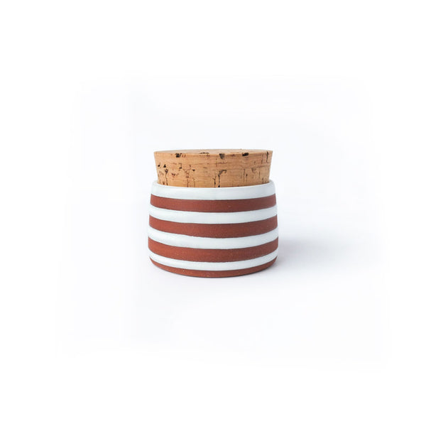 Wolf Ceramics Corked Jar White Horizontal Stripes