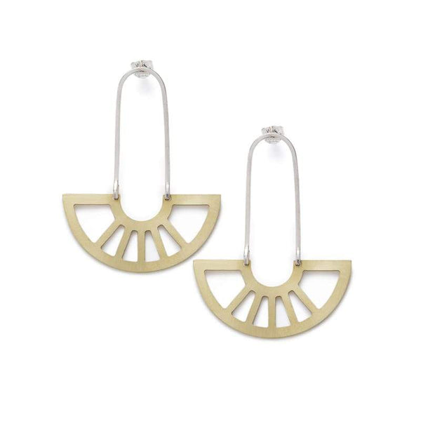 coro pendant earrings in brass front