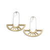 coro pendant earrings in brass on model