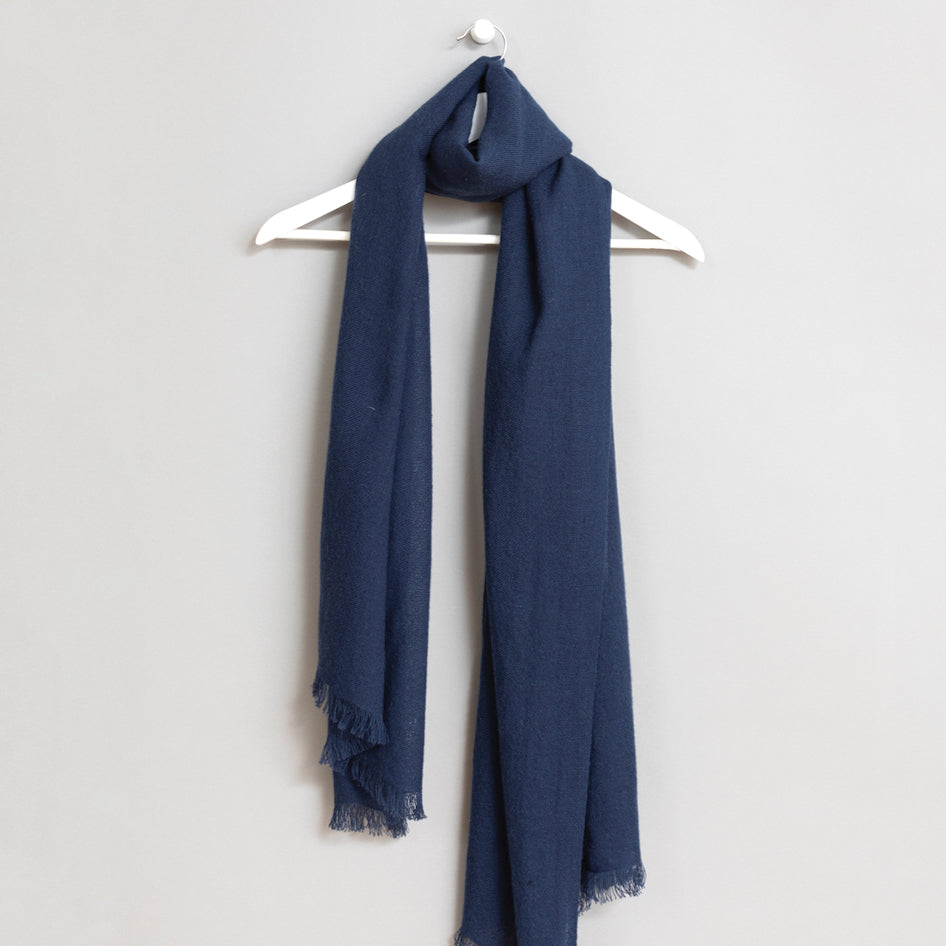 Merino Woven Scarf in Dark Blue