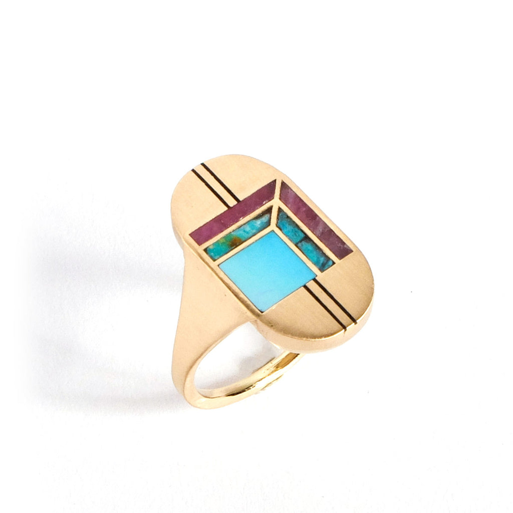 Inlay Statement Cocktail Ring