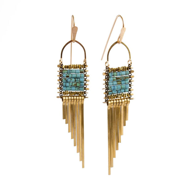 Demimonde Jewelry Asymmetrical Turquoise Earrings