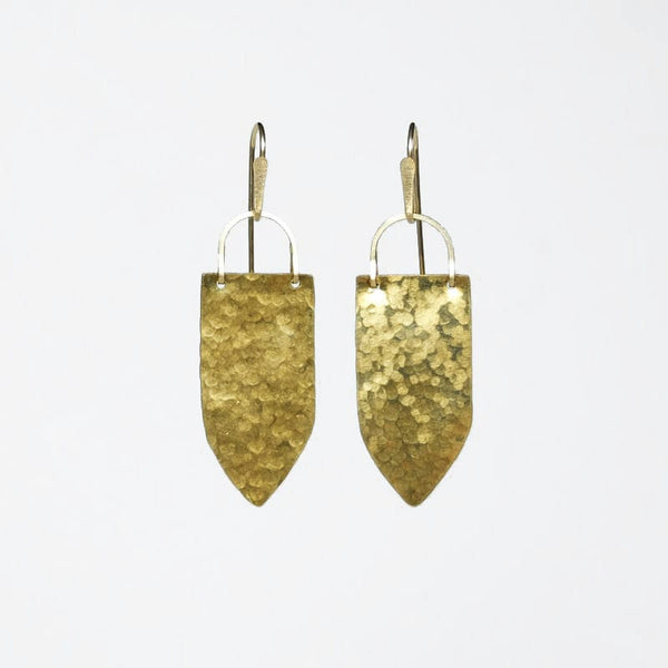 Demimonde Brass Shield Earrings