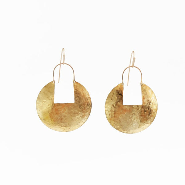 Demimonde Hammered Brass Large Medallion Hoop Earrings