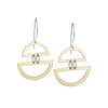 Modern, lightweight, polished brass semi-circle shapes, joined in the middle by two sterling silver rings, and dangling from hand-shaped sterling silver earring wires. Hand-crafted in Portland, Oregon.