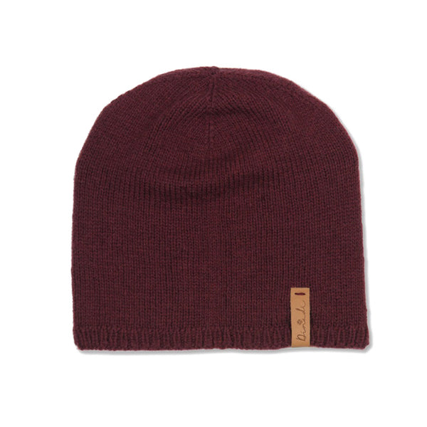 Hand-knit wool Emma Hat in Wine Red from Dinadi