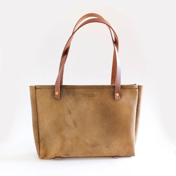 Goertzen Adventure Equipment Made in USA Leather Tote Bag Tan