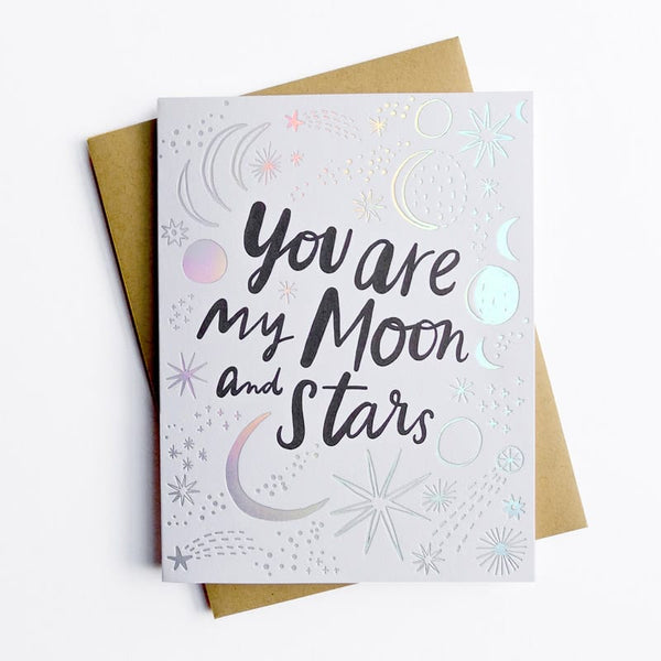 Hello Lucky You Are My Moon and Stars Card