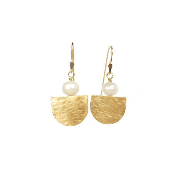 Hammered brass and pearl earrings on 14k gold-filled wires
