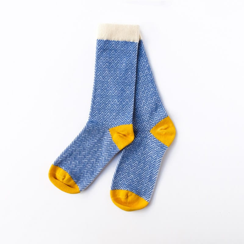 Textured Herringbone Crew Socks - Cornflower