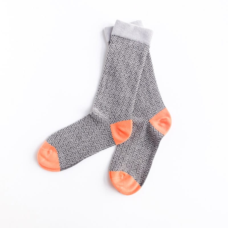 Textured Herringbone Crew Socks - Dove