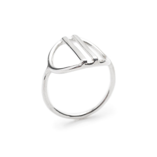 Sterling silver liv ring with negative space betsy & iya jewelry