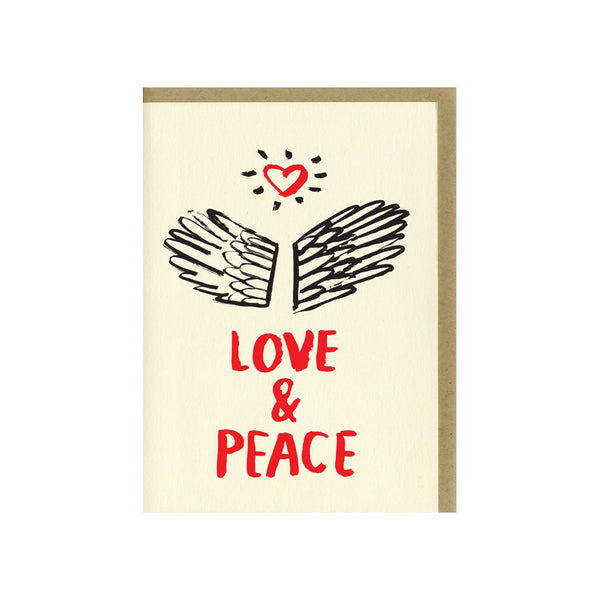 "Letterpress printed greeting card reads ""LOVE & PEACE"" and comes with a kraft colored envelope. Printed in Oakland, California by People I've Loved."