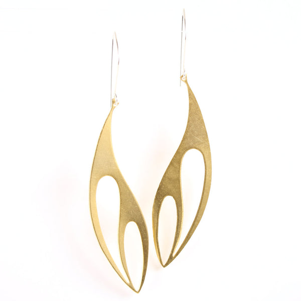 Simple gold dangle earrings with silver ear wires.