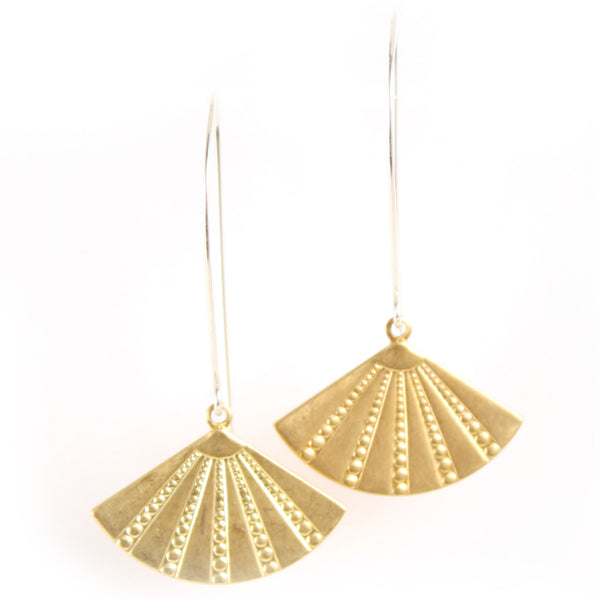 betsy & iya Cutesy Deco fan earrings.