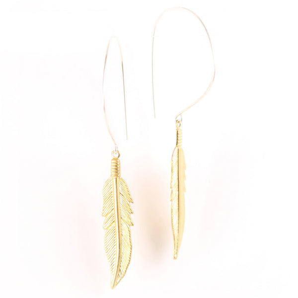 Silver hoop earrings with a dangling gold feather.
