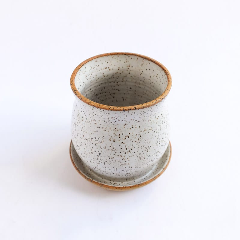Medium Planter White Speckled Solid
