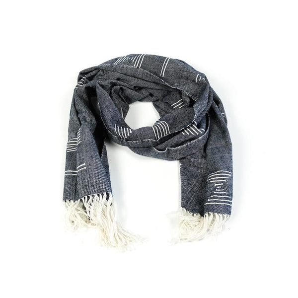 Minna handwoven Blue Shapes Cotton Scarf